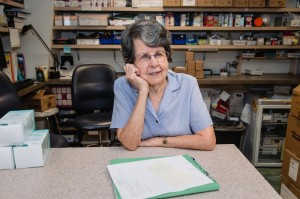 Mary Mellon at her volunteer job in AFC's pharmacy